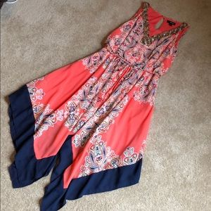 Orange print asymmetric dress size 6 by Ana